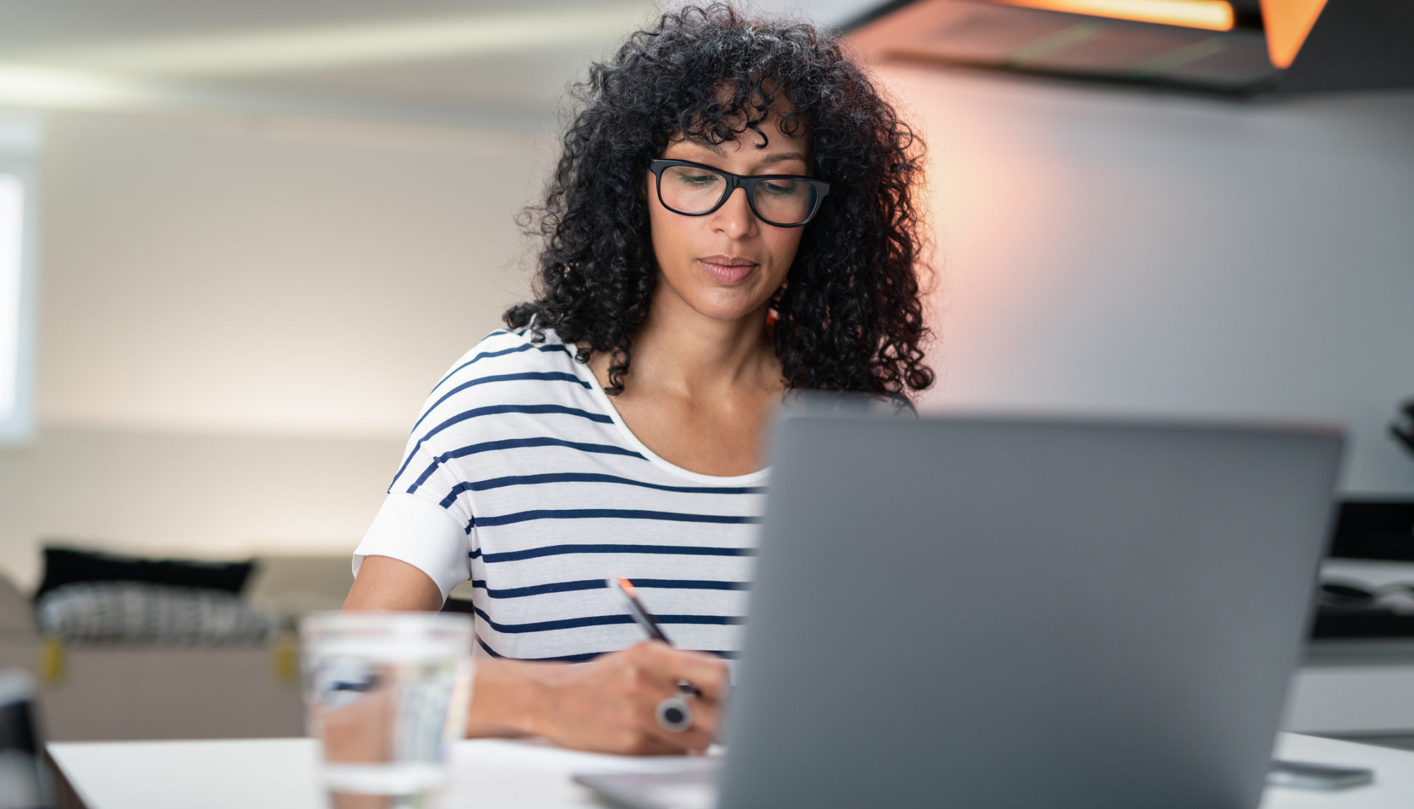 Woman paralegal student doing online classes